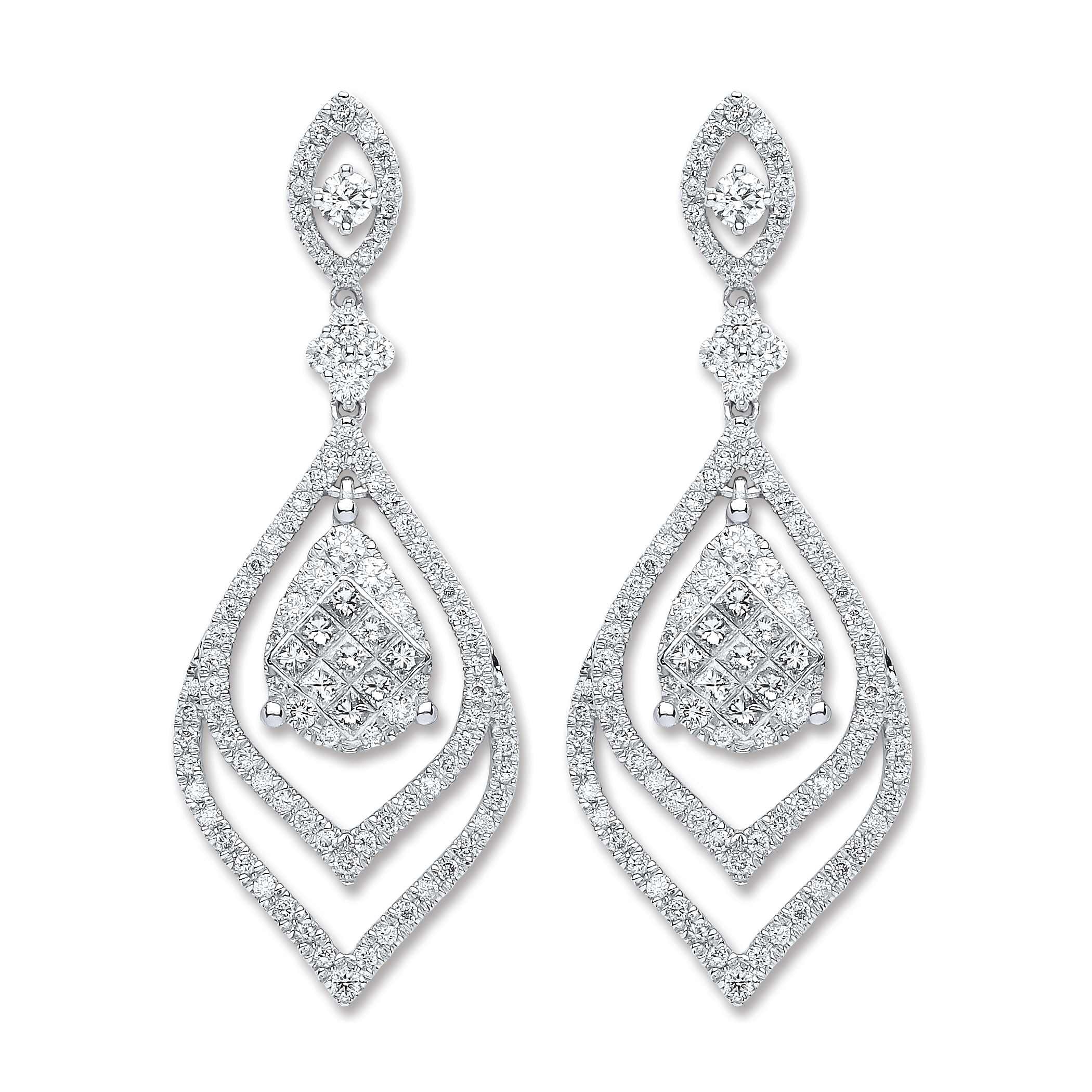 18ct White Gold 2 00ct Diamond Drop Earrings